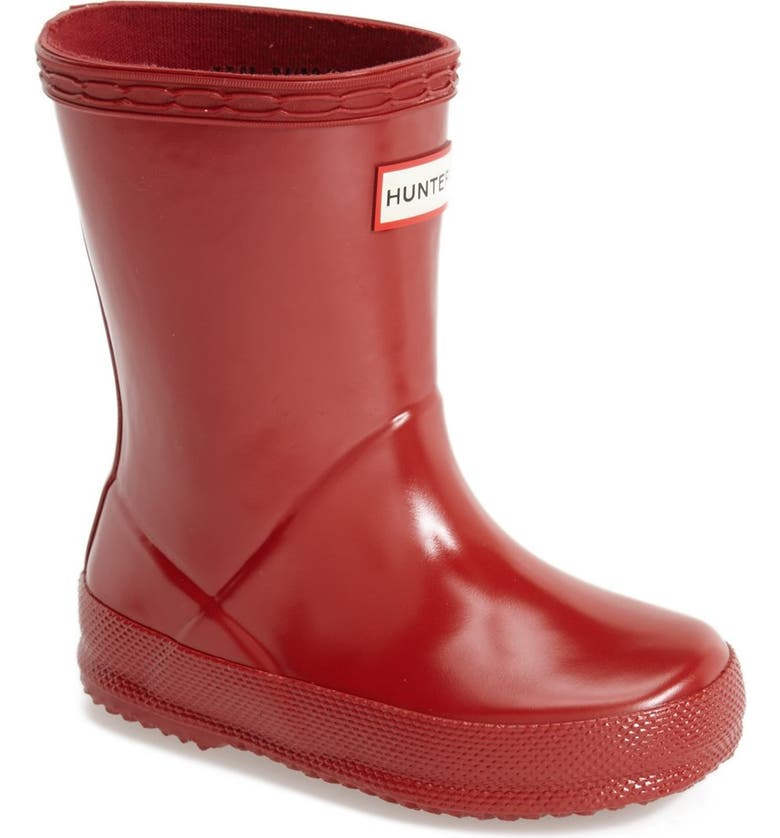 HUNTER 'First Gloss' Rain Boot, Main, color, MILITARY RED