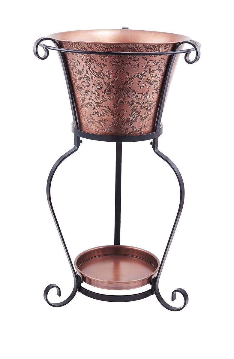 ODI HOUSEWARES Solid Copper Etched 5 Gallon Beverage Tub with Stand, Main, color, ANTIQUE COPPER