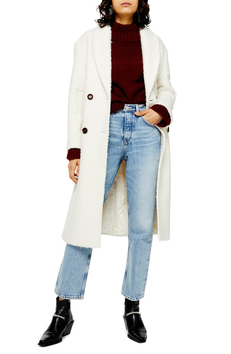 TOPSHOP Kim Bouclé Coat, Main, color, 900