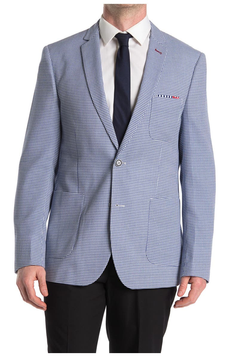PAISLEY AND GRAY Gingham Print Slim Fit Blazer, Main, color, BLUE WHITE