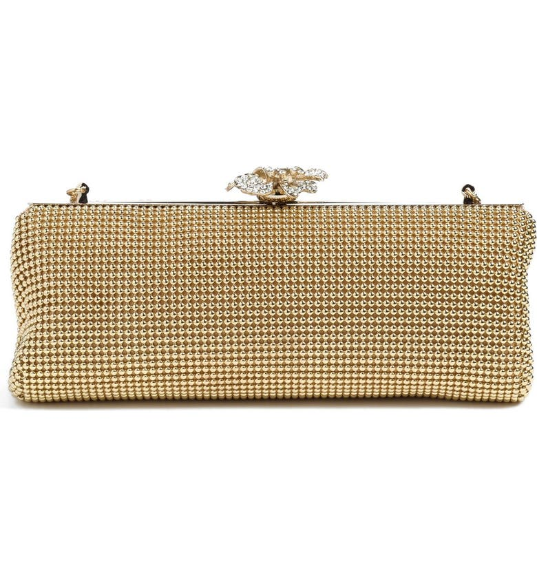 WHITING & DAVIS 'Crystal Flower' Metal Mesh Clutch, Main, color, GOLD