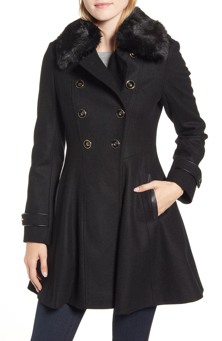 VIA SPIGA Double Breasted Fit & Flare Coat with Faux Fur Collar, Main, color, 001