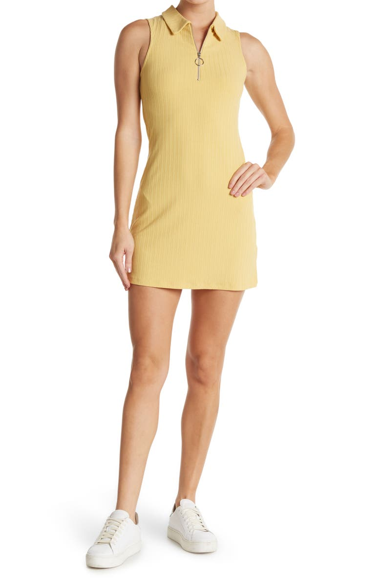 ELODIE Sleeveless Front O-Ring Zipper Dress, Main, color, DUSTY YELLOW