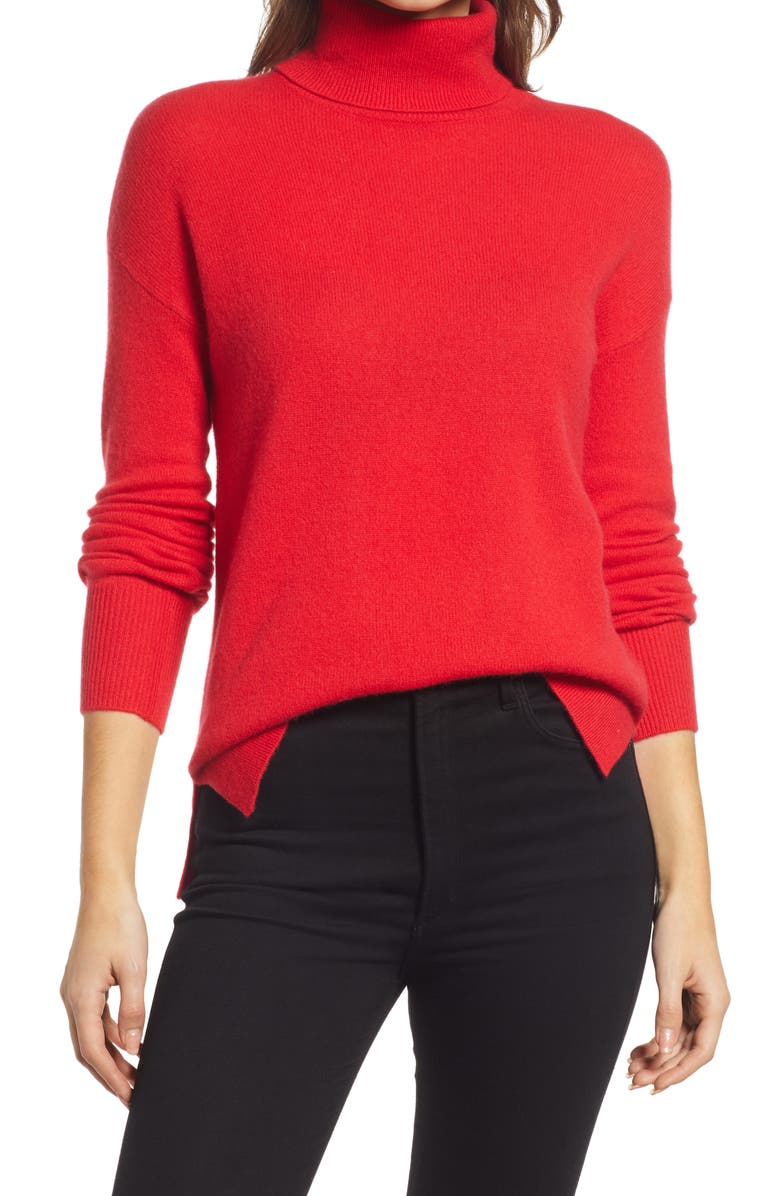 HALOGEN<SUP>®</SUP> Cashmere Turtleneck Sweater, Main, color, RED CHINOISE