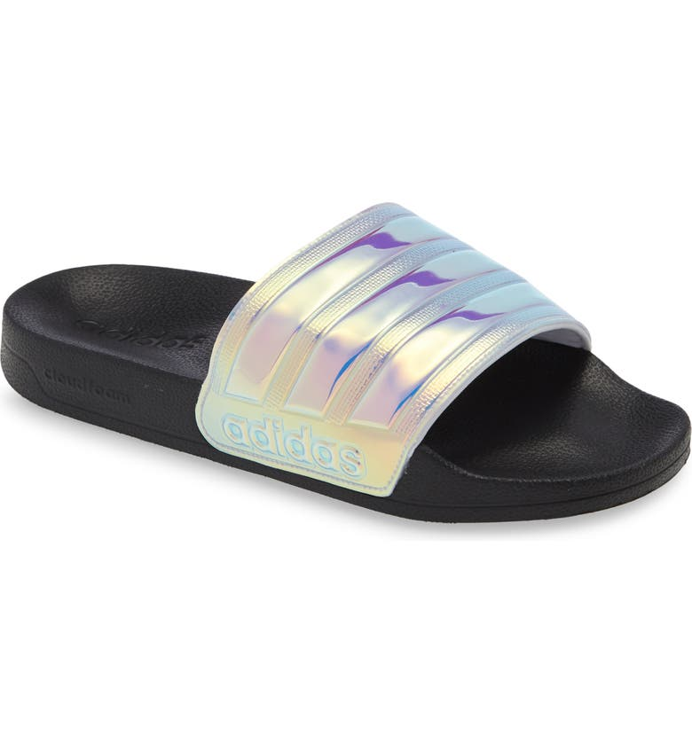 ADIDAS Adilette Shower Iridescent Sport Slide, Main, color, BLACK/ IRIDESCENT