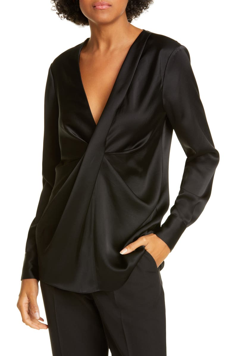 DVF Muriel Twist Front Satin Blouse, Main, color, 001