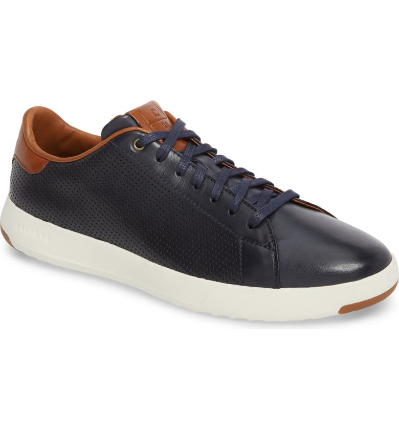 COLE HAAN GrandPrø Perforated Low Top Sneaker, Main, color, BLAZER BLUE LEATHER