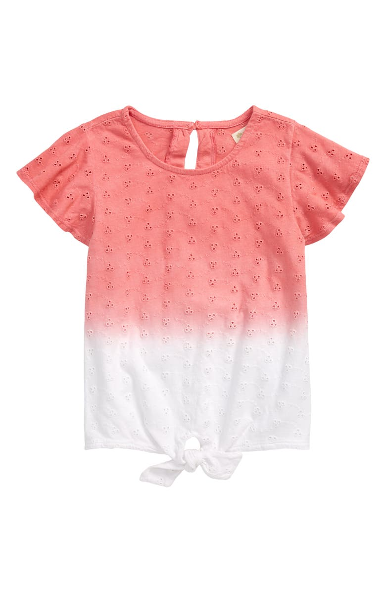 TUCKER + TATE Eyelet Flutter Sleeve Top, Main, color, PINK STRAWBERRY OMBRE