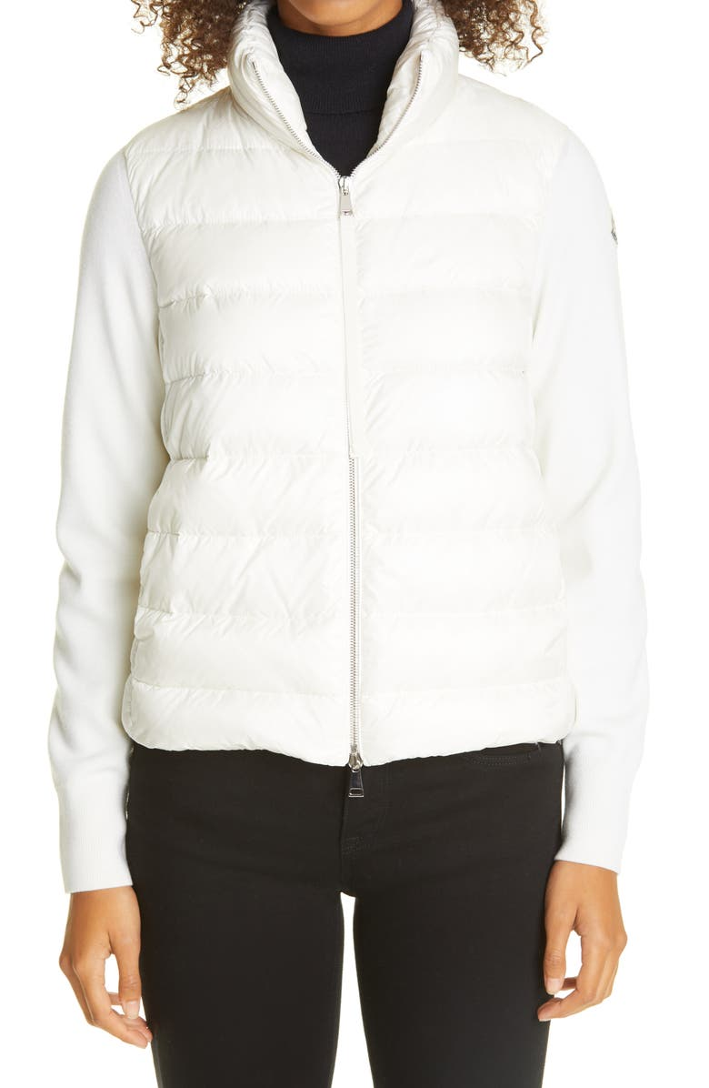 MONCLER Quilted Down & Wool Short Cardigan, Main, color, White