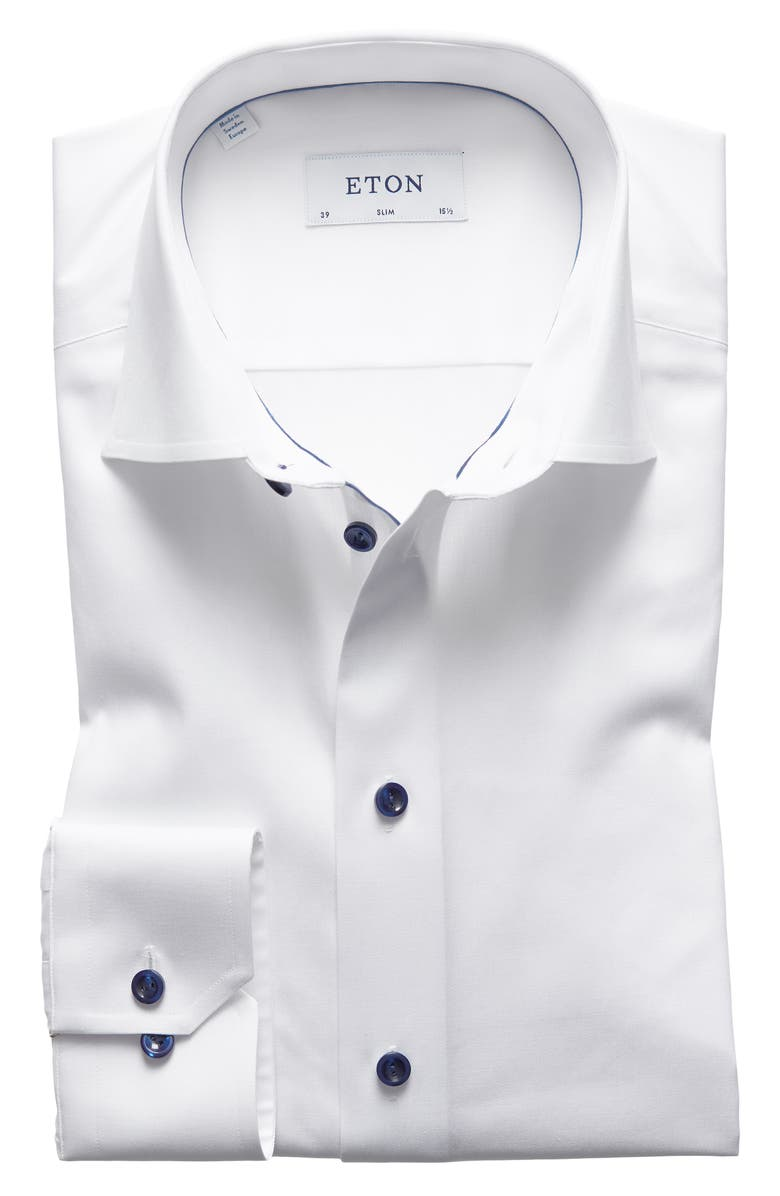 ETON Slim Fit Twill Dress Shirt with Grey Details, Main, color, WHITE/ NAVY