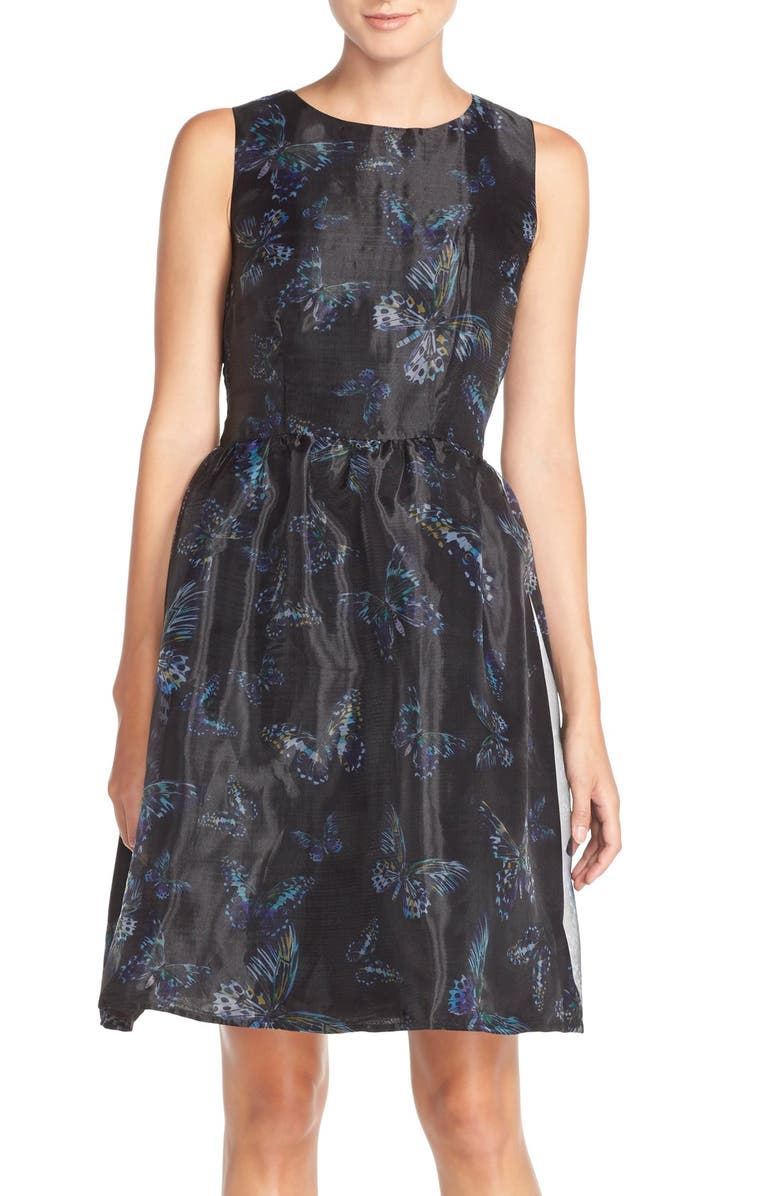 CECE by Cynthia Steffe Print Organza Fit & Flare Dress, Main, color, 002