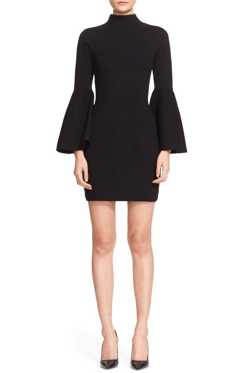 MILLY Bell Sleeve Mock Neck Knit Dress, Main, color, 001