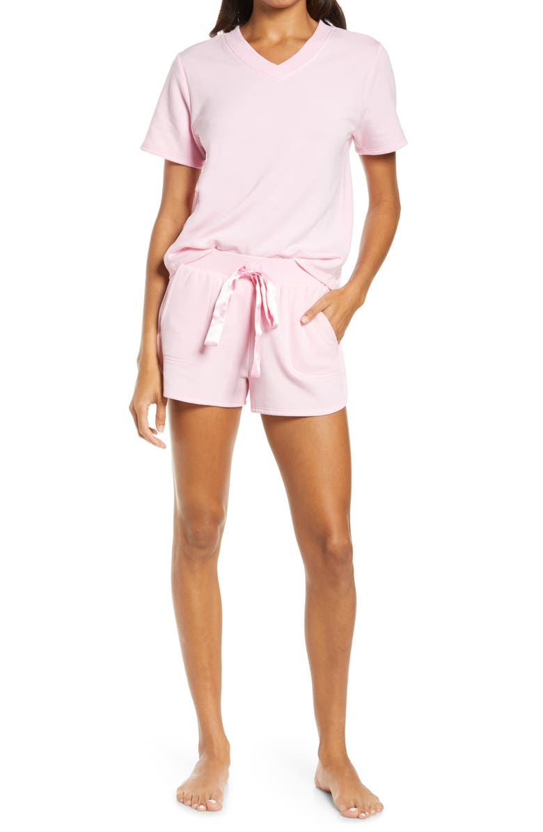 FLORA NIKROOZ Blaire French Terry Short Pajamas, Main, color, CARNATION