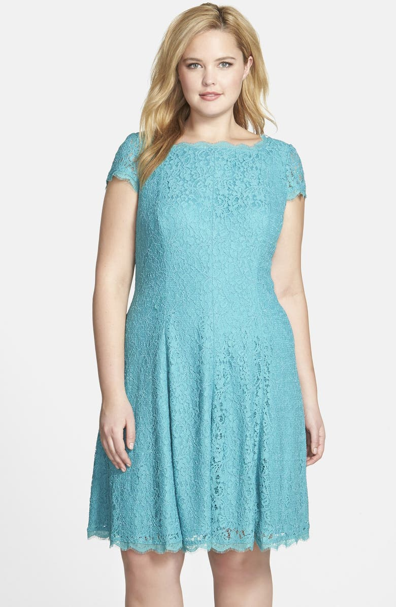 ADRIANNA PAPELL Lace Fit & Flare Dress, Main, color, 300