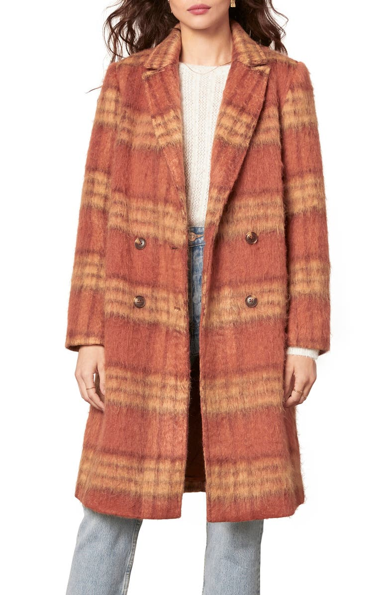 CUPCAKES AND CASHMERE Vera Double Breasted Plaid Coat, Main, color, RUST