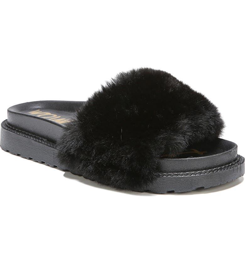 SAM EDELMAN Blaire Faux Fur Platform Slide Sandal, Main, color, 001