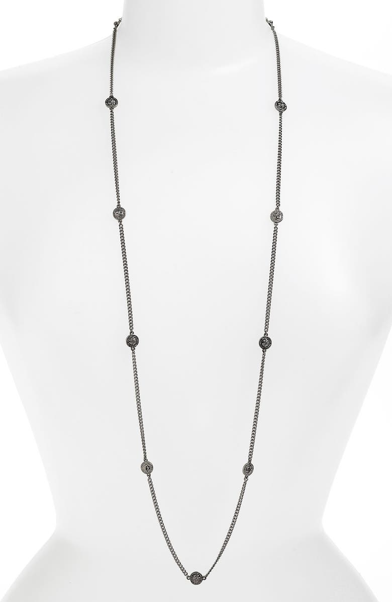 MARC BY MARC JACOBS Long Station Necklace, Main, color, HEMATITE