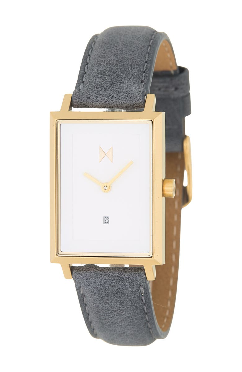 MVMT WATCHES Women's Payton Leather Band Watch, 24mm, Main, color, WHITE