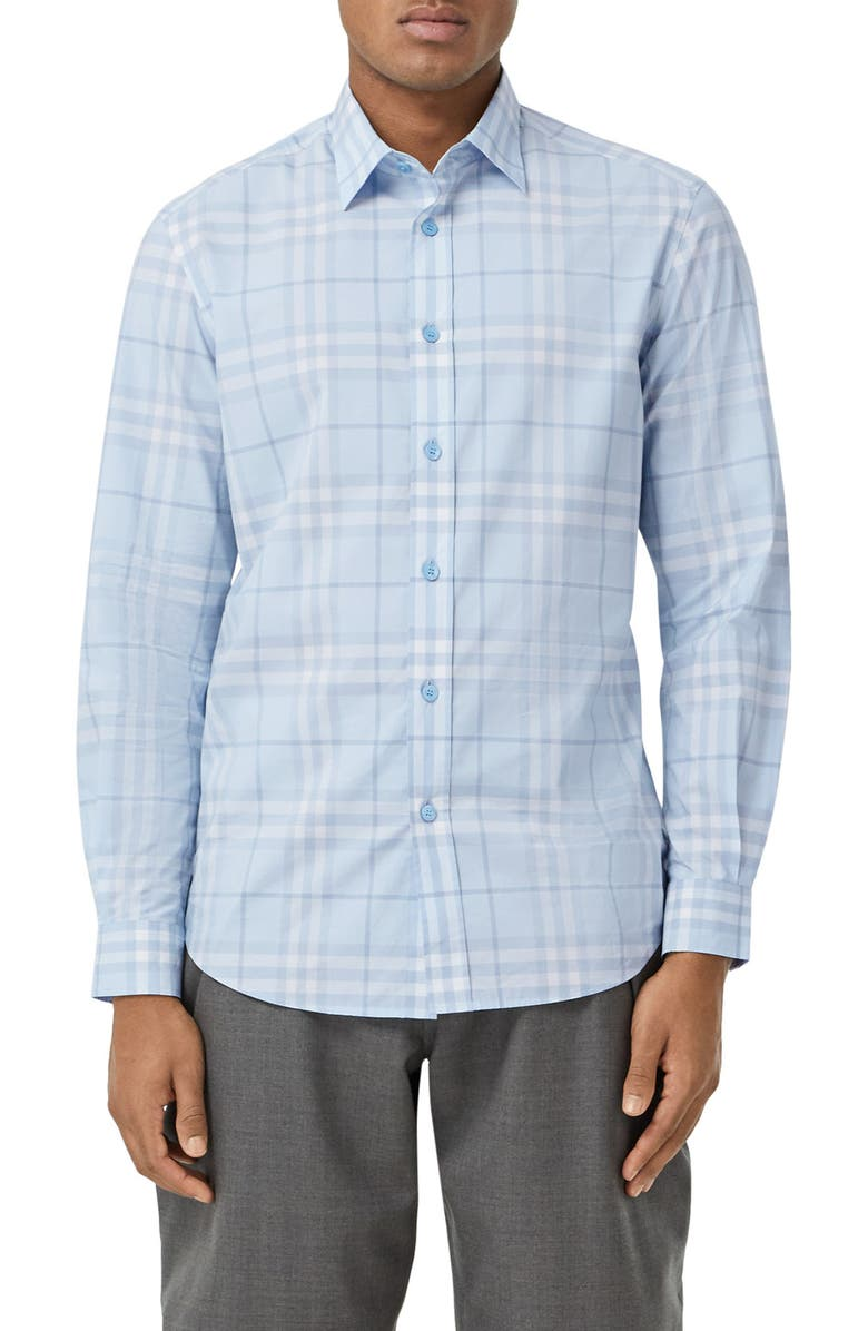 BURBERRY Caxton Check Button-Up Shirt, Main, color, 400