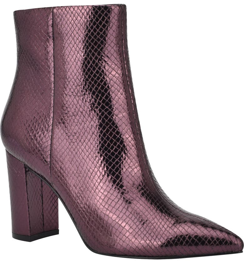 MARC FISHER LTD Ulani Pointy Toe Bootie, Main, color, NEW GRAPE LEATHER/ PURPLE