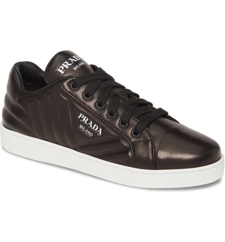 PRADA Quilted Low Top Sneaker, Main, color, BLACK/ WHITE