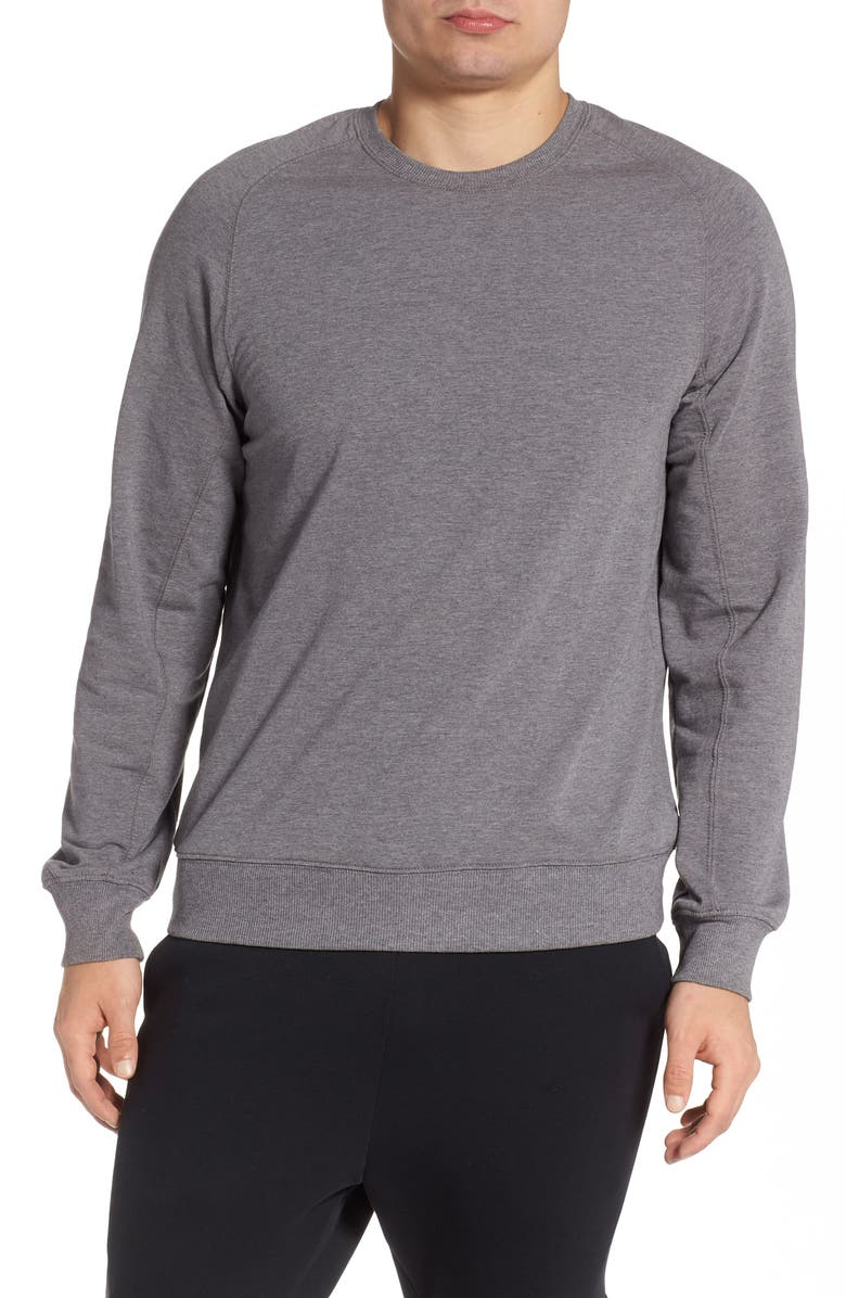 ZELLA Crewneck Fleece Sweatshirt, Main, color, GREY OBSIDIAN MELANGE