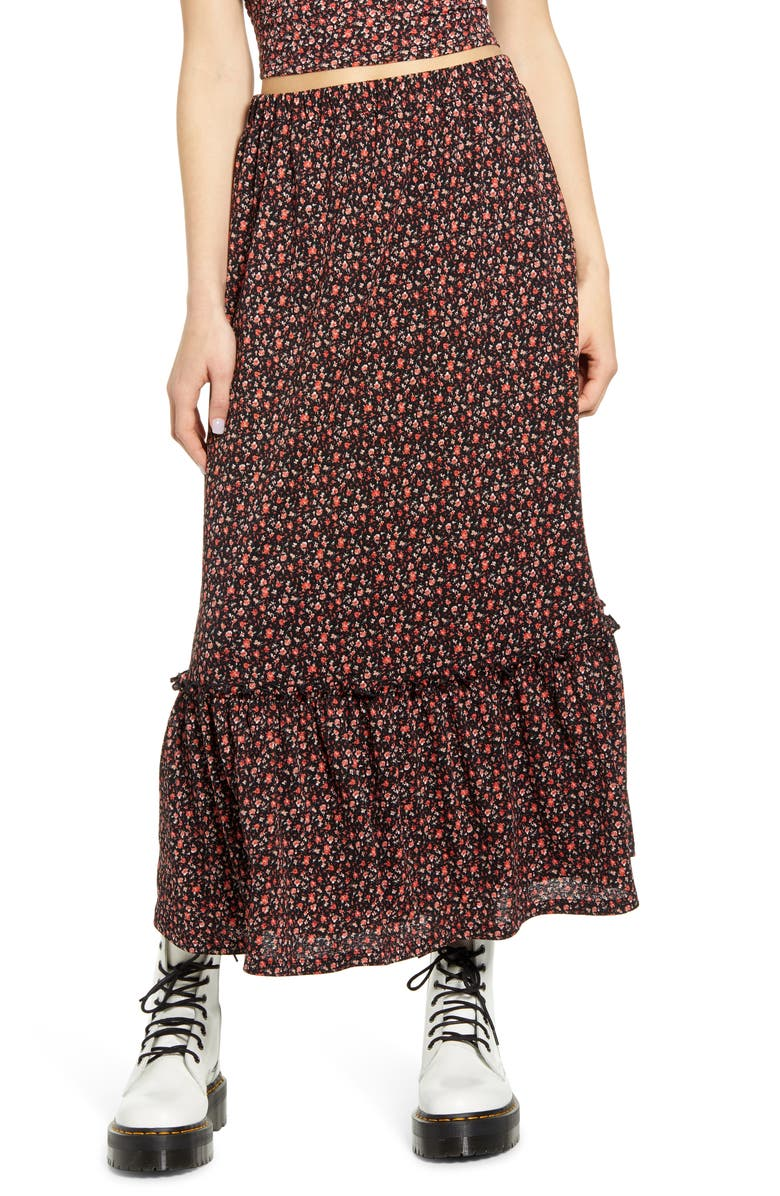 ONLY Pella Tiered Maxi Skirt, Main, color, 001