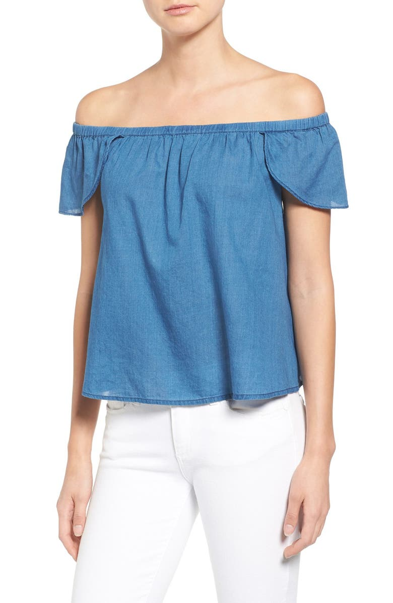 MADEWELL Off the Shoulder Cotton Top, Main, color, BELLAMY WASH