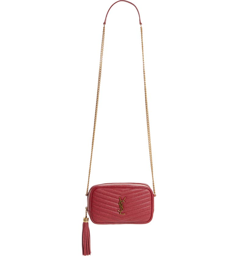 SAINT LAURENT Mini Lou Quilted Leather Crossbody Bag, Main, color, ROUGE OPIUM