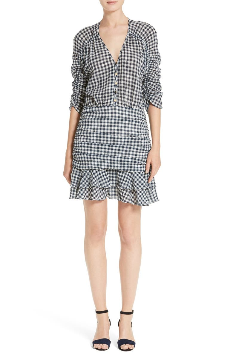VERONICA BEARD Campbell Ruched Dress, Main, color, NAVY/ WHITE