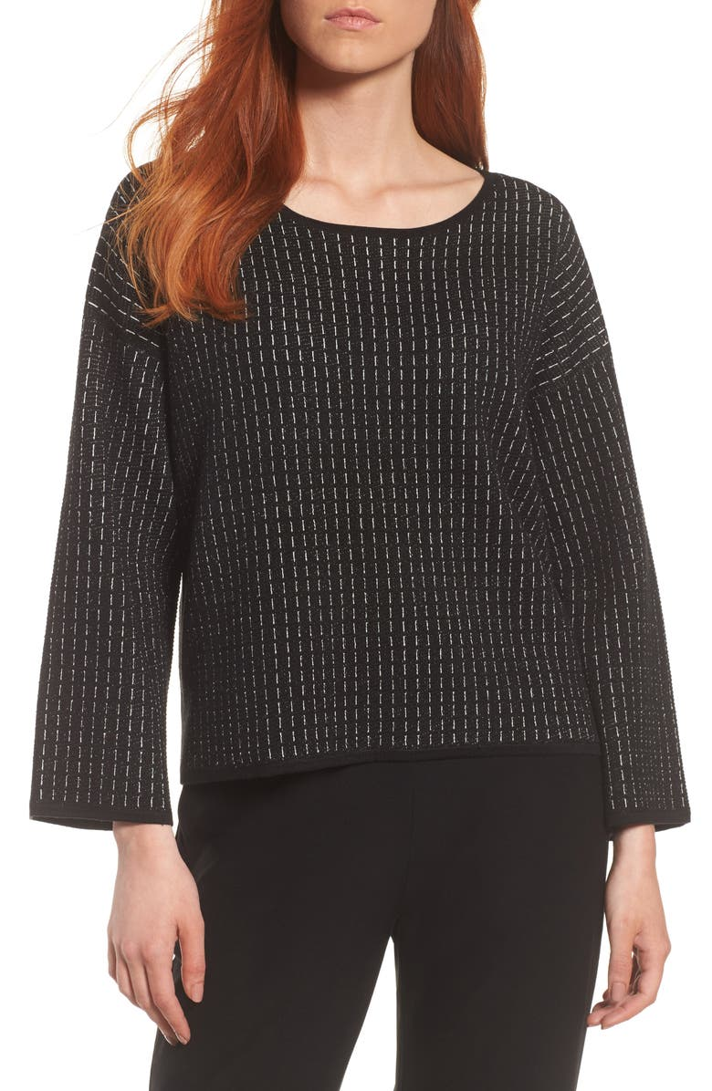 EILEEN FISHER Jewel Neck Boxy Top, Main, color, Black