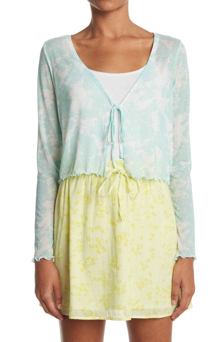 ABOUND Tie Front Long Sleeve Tee, Main, color, IVORY- GREEN SOFT SPLASH