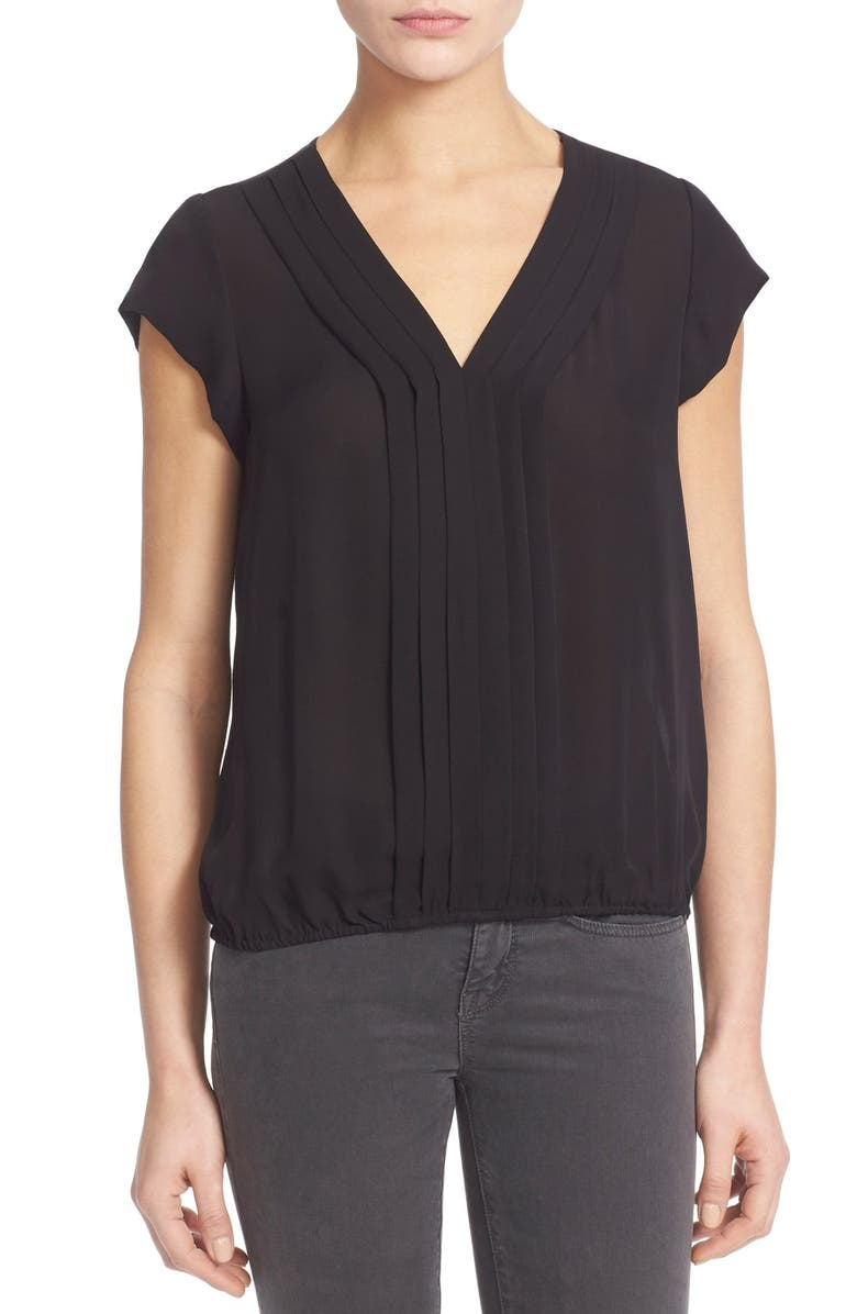 JOIE 'Marcher' Pleated Silk Top, Main, color, 002