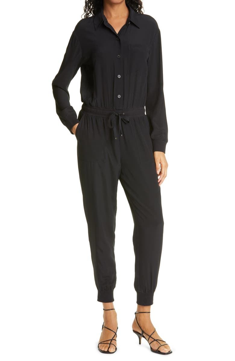 CAMI NYC Ibai Long Sleeve Stretch Silk Jumpsuit, Main, color, BLACK
