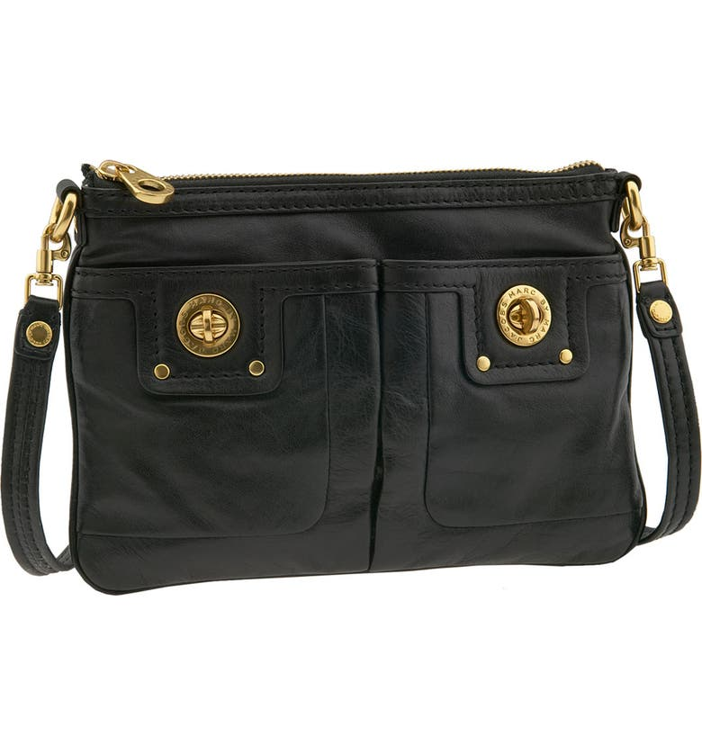 MARC JACOBS MARC BY MARC JACOBS 'Percy' Turnlock Crossbody Bag, Main, color, BLACK DNU