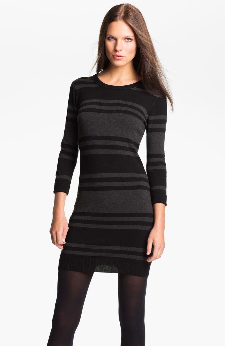 FRENCH CONNECTION 'Bambi Knits' Multi Stripe Sweater Dress, Main, color, BLACK/ CHARCOAL