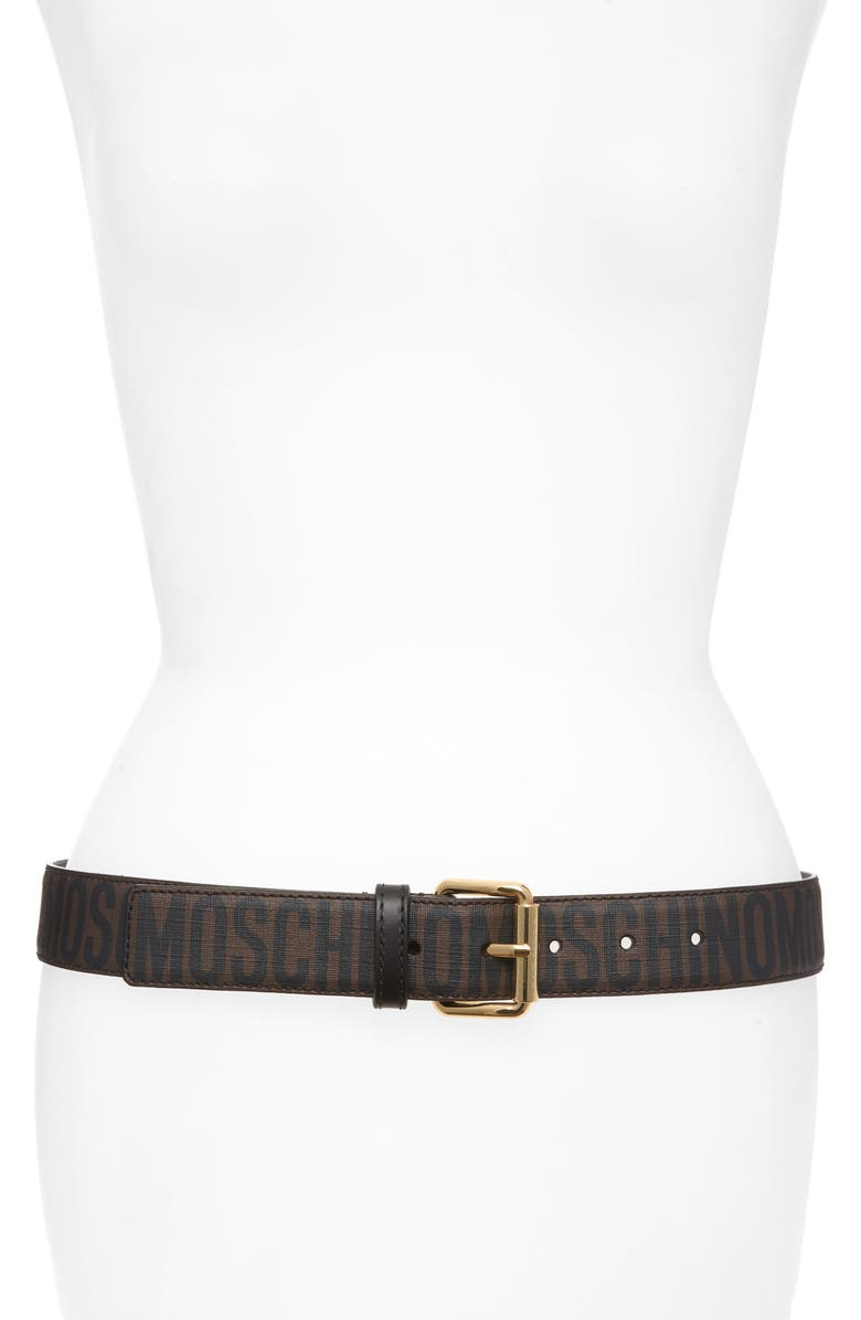 MOSCHINO Logo Print Belt, Main, color, GOLD