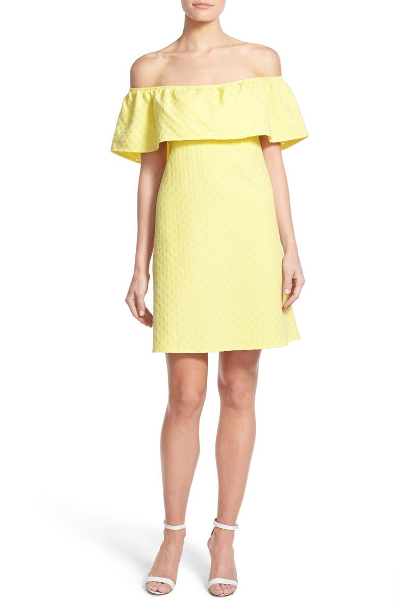 CUPCAKES AND CASHMERE 'Lulu' Off the Shoulder Dress, Main, color, MELLOW YELLOW