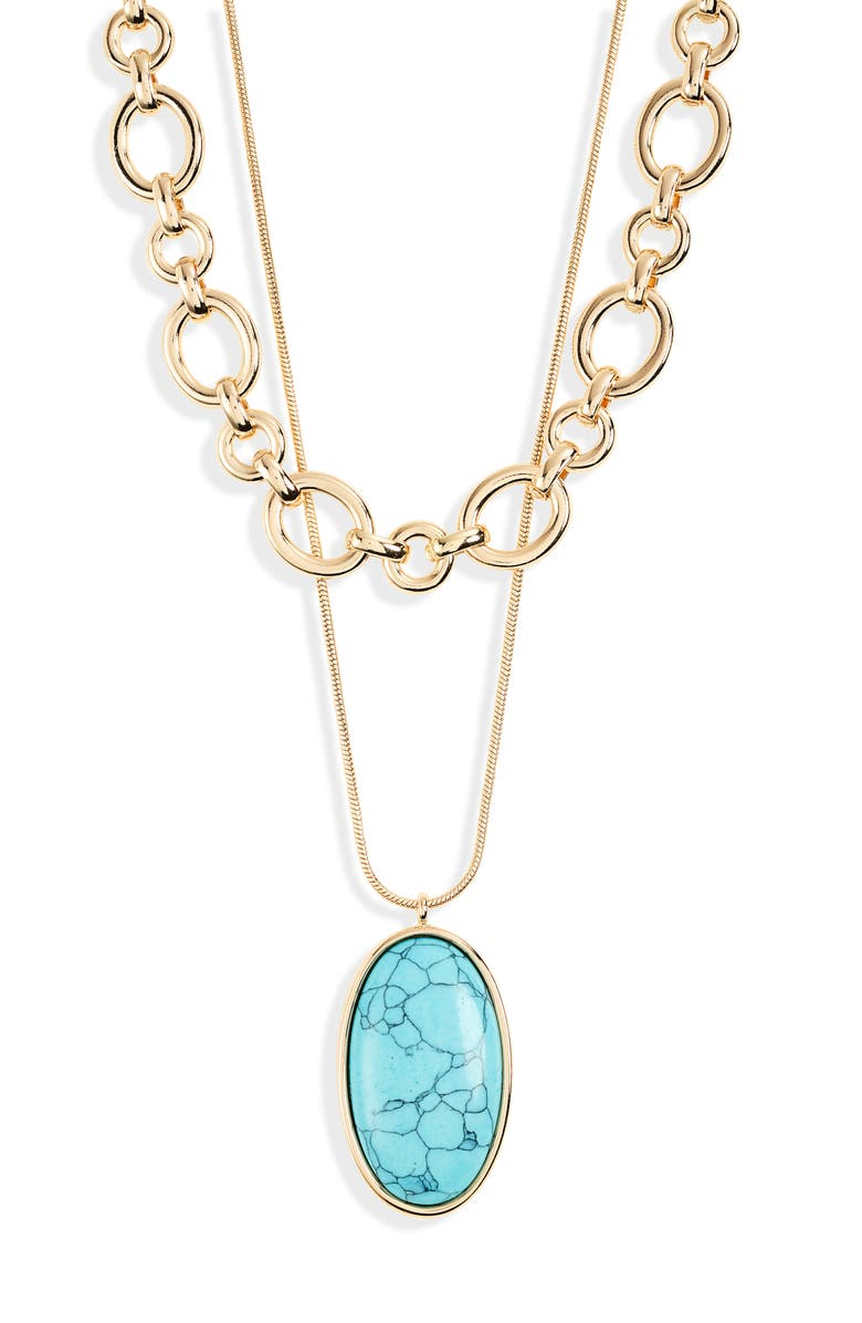 NORDSTROM Layered Stone Pendant Necklace, Main, color, TURQUOISE- GOLD