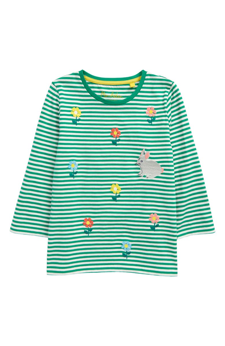 MINI BODEN Stripy Embroidered Long Sleeve T-Shirt, Main, color, SAPLING GREEN/ IVORY DAISIES