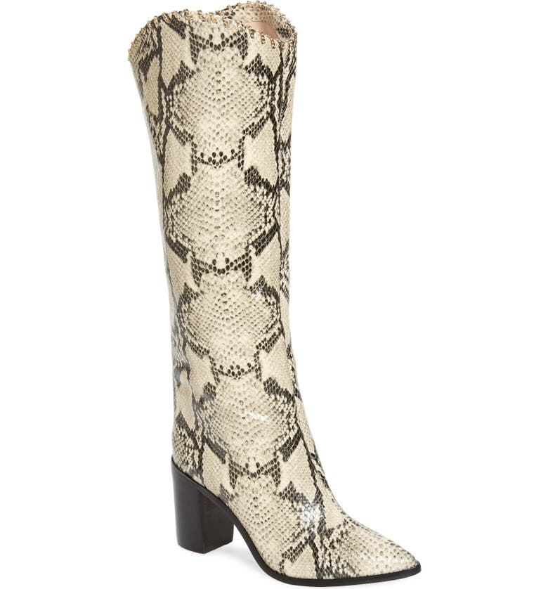SCHUTZ Valy Knee High Boot, Main, color, NATURAL SNAKE PRINT LEATHER