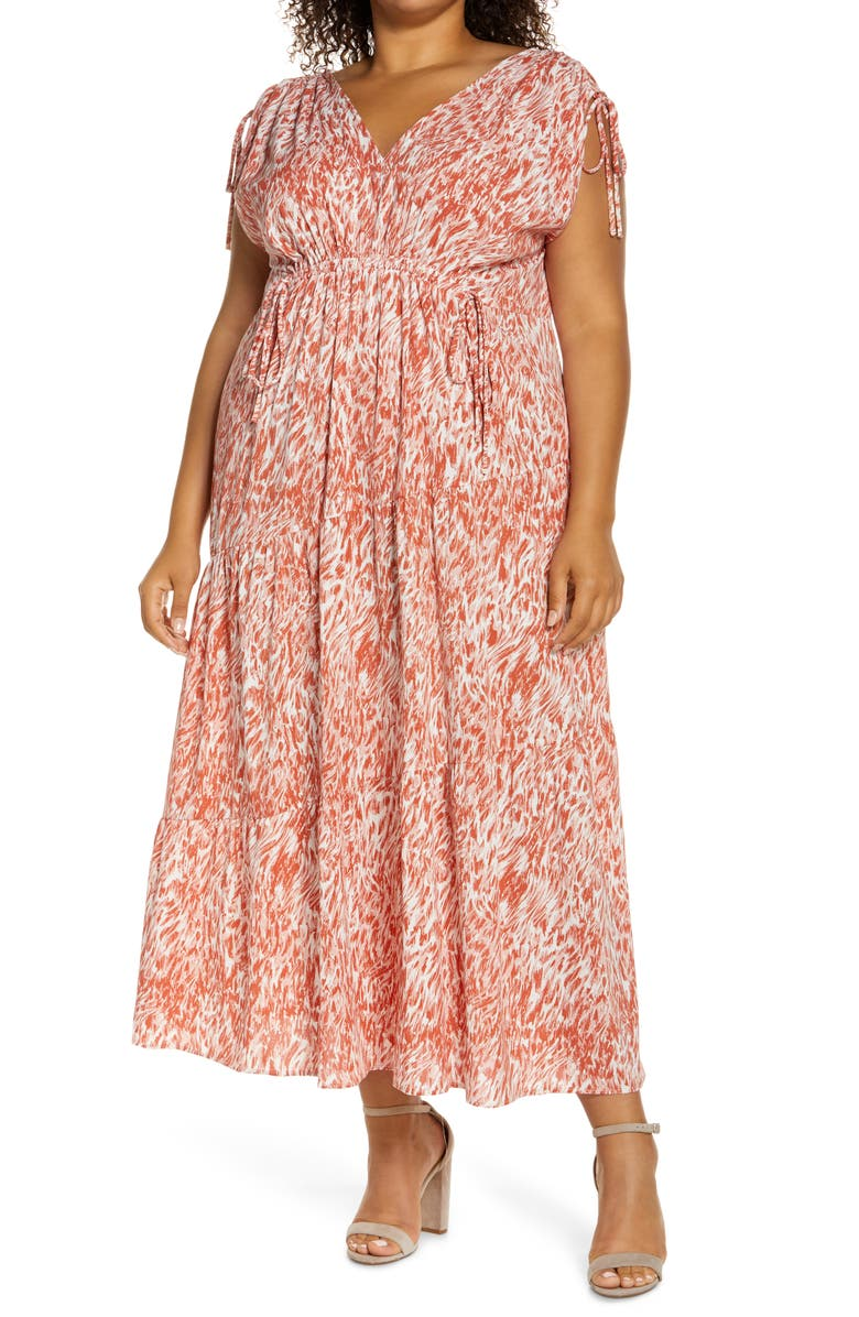 MAGGY LONDON Abstract Swirl Print Tie Sleeve Maxi Dress, Main, color, CREAM/ GINGER