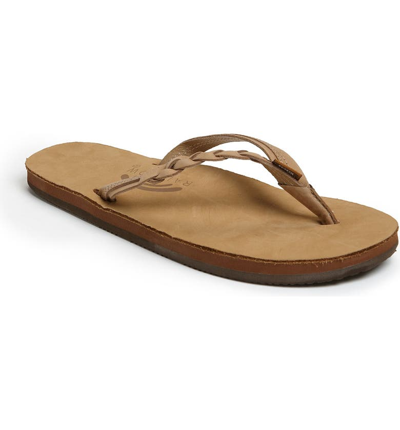 RAINBOW<SUP>®</SUP> Rainbow 'Flirty' Braided Leather Flip Flop, Main, color, SIERRA BROWN