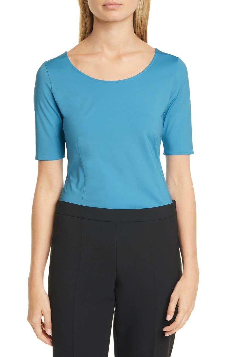 BOSS Emalyna Slim Fit Short Sleeve Top, Main, color, 432