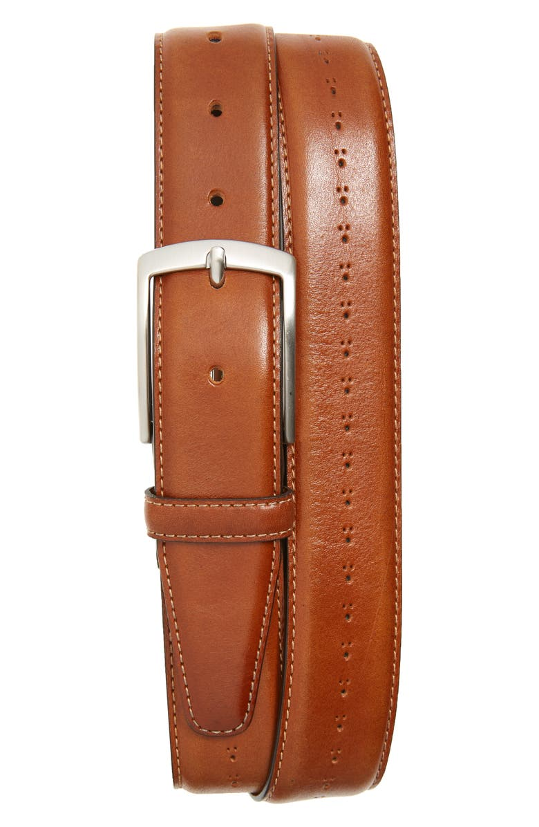 NORDSTROM Chadwick Brogue Belt, Main, color, COGNAC