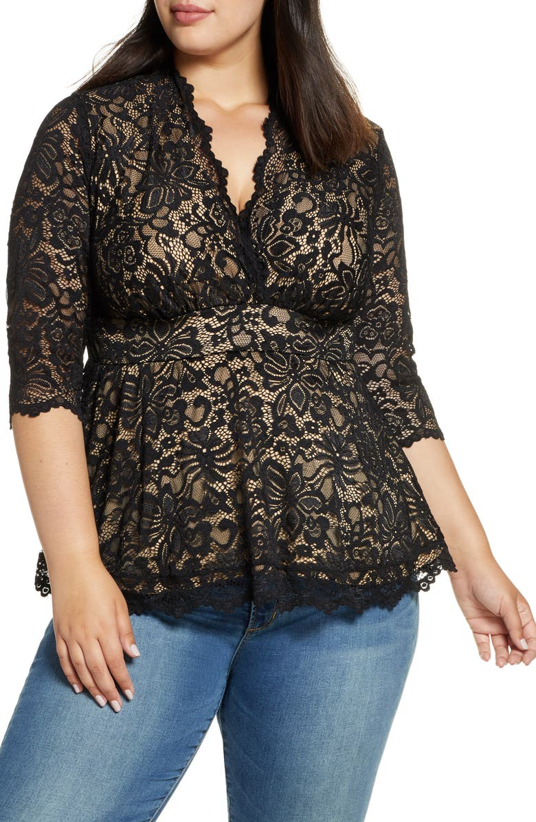 KIYONNA Linden Lace Top, Main, color, BLACK LACE / NUDE LINING