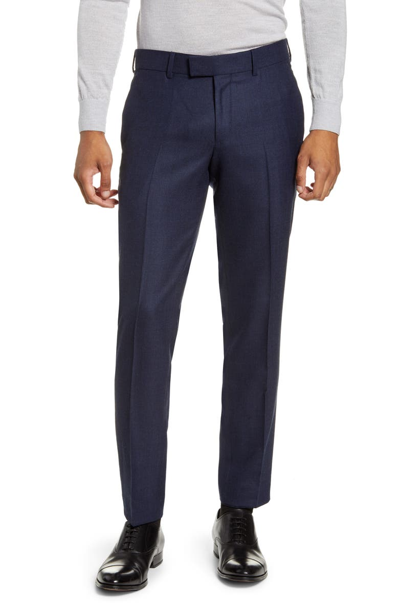 TIGER OF SWEDEN Tordon Flat Front Solid Wool Blend Dress Pants, Main, color, 401