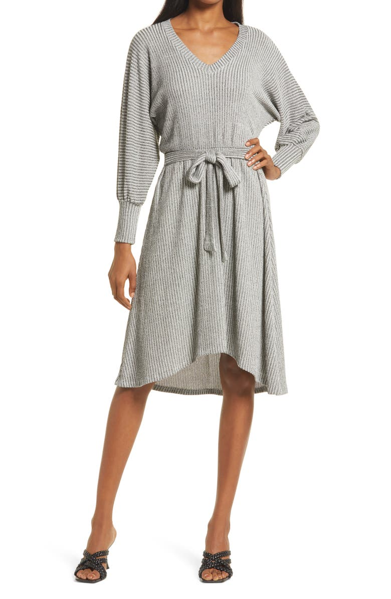 FRAICHE BY J Ribbed Tie Waist High-Low Sweater Dress, Main, color, HEATHER GREY