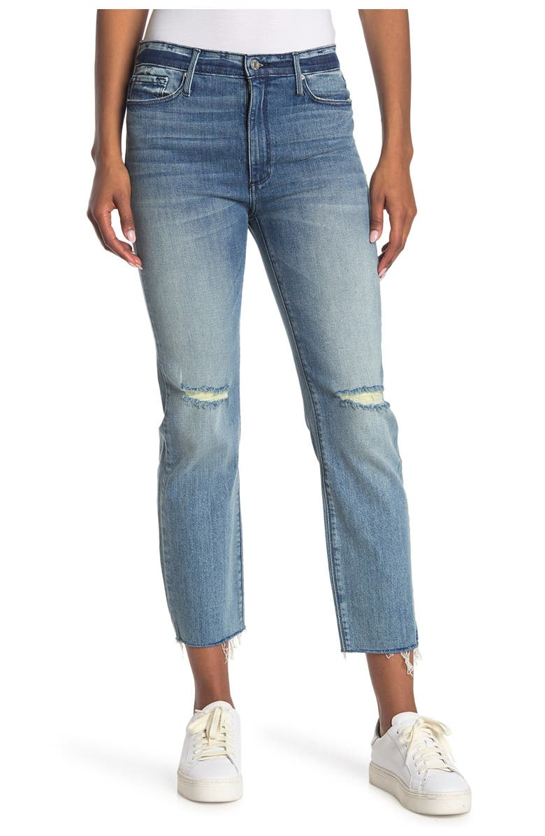 BLACK ORCHID Brooke Straight Raw Hem Jeans, Main, color, HER FAVORITE SONG
