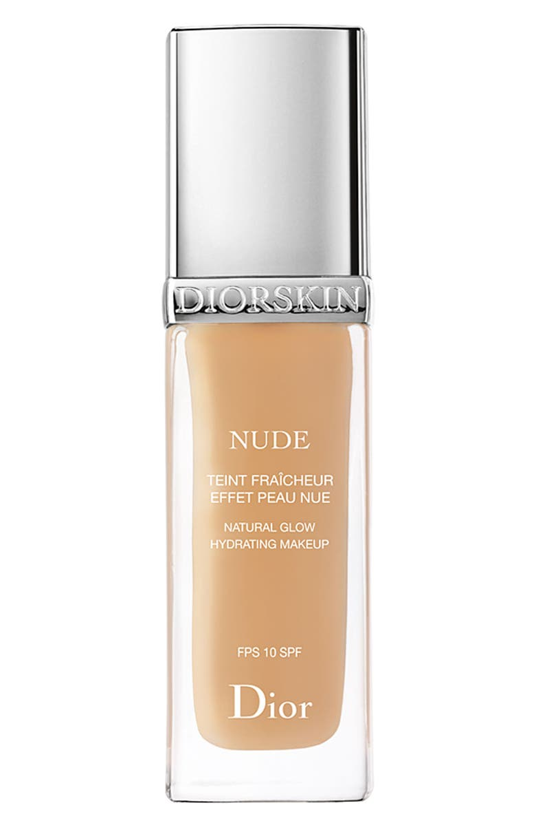 DIOR 'Diorskin Nude' Natural Glow Hydrating Makeup SPF 10, Main, color, IVORY 010